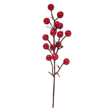 Χριστουγεννιάτικο κλαδί Berries - Γκι Κόκκινο 5x25cm