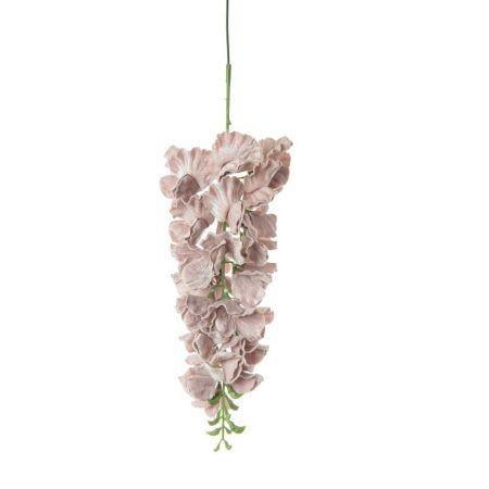 Βελούδινο κρεμαστό κλαδί γλυκίνης Ροζ - Λιλά 34cm