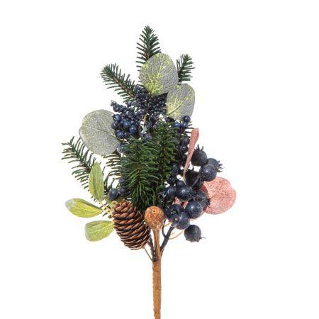 Χριστουγεννιάτικο κλαδί με berries Μπλε  35x20cm