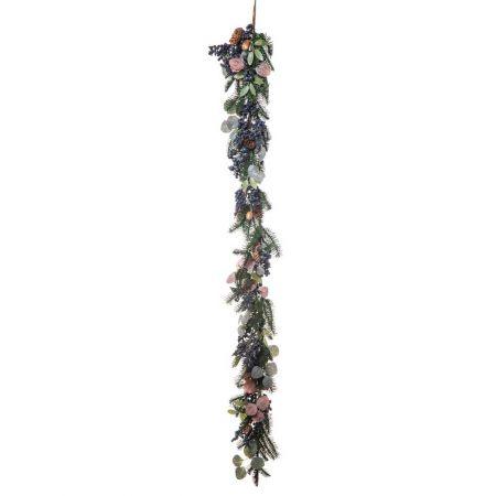 Χριστουγεννιάτικη γιρλάντα στολισμένη με berries Μπλε 180x28cm