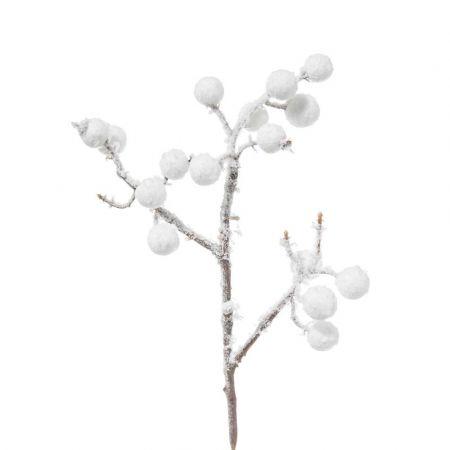 Χριστουγεννιάτικο κλαδί Berries - Γκι Λευκό χιονισμένο 25cm