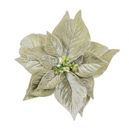 Χριστουγεννιάτικο Αλεξανδρινό άνθος βελούδινο Deluxe Πράσινο Μέντας 20cm