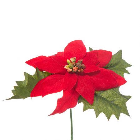 Χριστουγεννιάτικο Αλεξανδρινό άνθος Κόκκινο 14cm