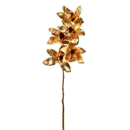 Διακοσμητικό κλαδί Ορχιδέας Χρυσό 63cm