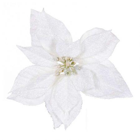 Χριστουγεννιάτικο Αλεξανδρινό άνθος Λευκό Χιονισμένο με glitter 22cm