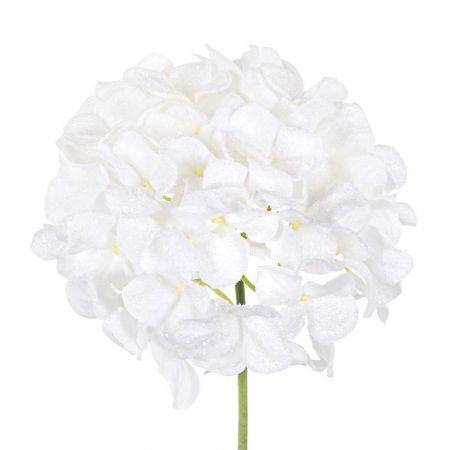 Χριστουγεννιάτικο λουλούδι Ορτανσία χιονισμένo Λευκό με glitter 20cm