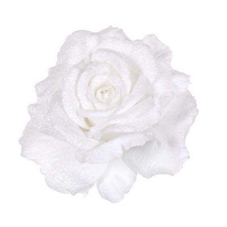 Χριστουγεννιάτικο τριαντάφυλλο Λευκό Χιονισμένο με glitter 14cm