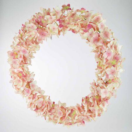 Ανοιξιάτικο διακοσμητικό Στεφάνι Ορτανσία Ροζ 63cm