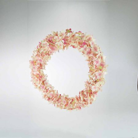 Ανοιξιάτικο διακοσμητικό Στεφάνι Ορτανσία Ροζ 45cm