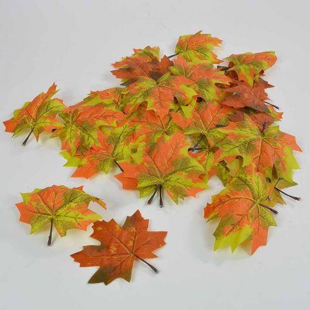 Σετ 28τχ Φθινοπωρινά φύλλα Σφενδάμου Πράσινο - Πορτοκαλί 15cm
