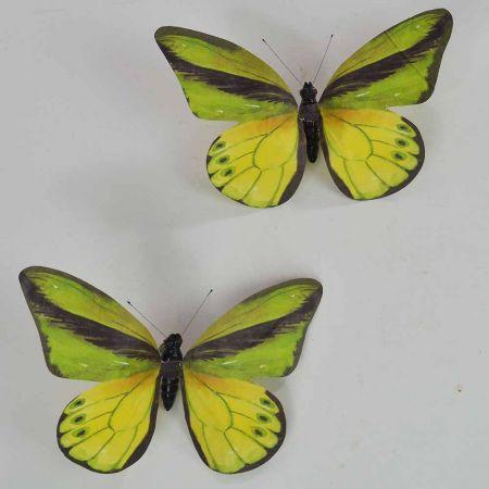 Σετ 2τχ διακοσμητική πεταλούδα Πράσινο 20cm