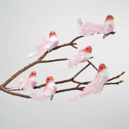 Σετ 6τμχ. Διακοσμητικό Ανοιξιάτικο πουλάκι με κλιπ Ροζ 13cm
