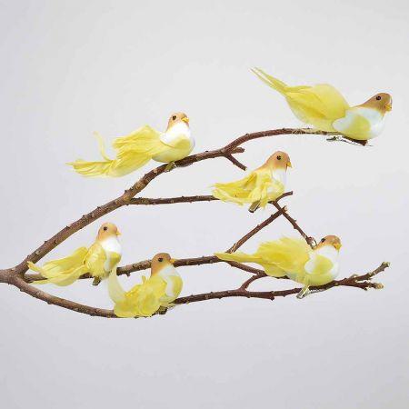 Σετ 6τμχ. Διακοσμητικό Ανοιξιάτικο πουλάκι με κλιπ Κίτρινο 13cm