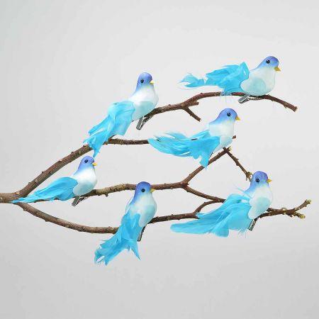 Σετ 6τμχ. Διακοσμητικό Ανοιξιάτικο πουλάκι με κλιπ Μπλε 13cm
