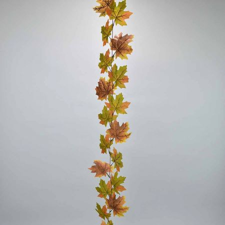 Διακοσμητική γιρλάντα με φύλλα Σφενδάμου Πράσινο - Καφέ 180cm