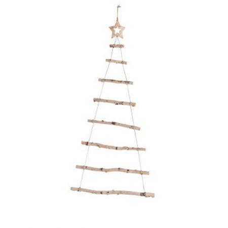 Διακοσμητική κρεμαστή σκάλα-δέντρο ξύλινη με αστέρι στην κορυφή 100cm
