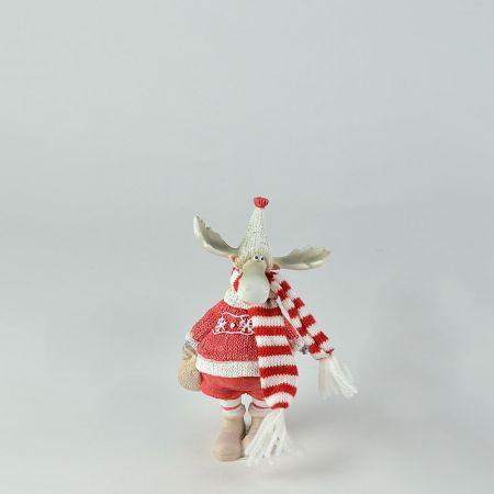 Διακοσμητικός Χριστουγεννιάτικος τάρανδος με Λευκό σκούφο 8x5x14cm