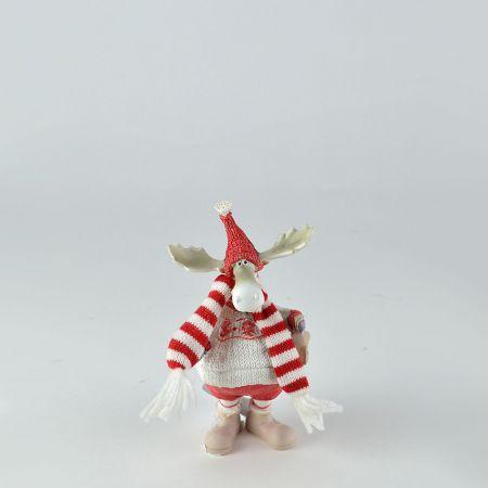Διακοσμητικός Χριστουγεννιάτικος τάρανδος με κόκκινο σκούφο 8x5x14cm