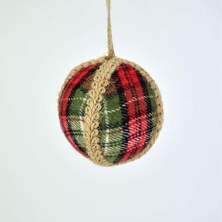 Χριστουγεννιάτικη μπάλα Πράσινη - Κόκκινη καρό 8cm