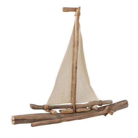 Καραβάκι από κλαδιά με πανιά 72x10x64cm