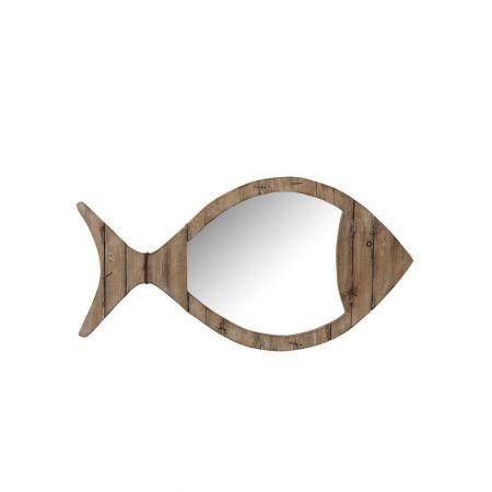 Καθρέπτης σε σχήμα ψαριού κατασκευασμένος από ξύλο και μέταλλο.