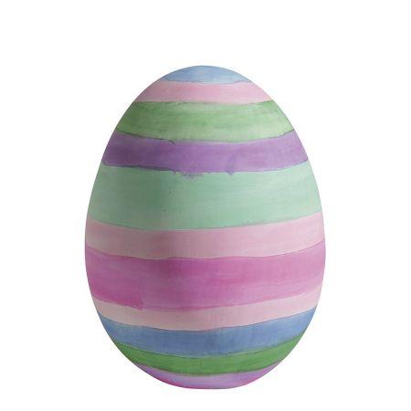 Διακοσμητικό αυγό ριγέ με παστέλ χρώματα 30cm