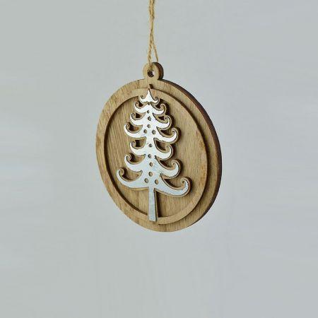 Ξύλινο κρεμαστό στολίδι στρογγυλό με δεντράκι 11cm
