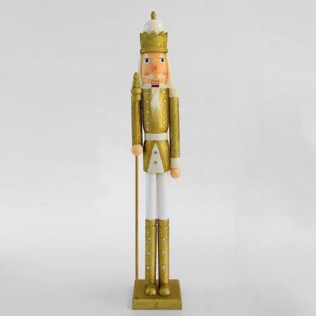 Ξύλινος καρυοθραύστης με σκήπτρο Χρυσός - Λευκός 106cm