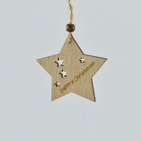 Ξύλινο κρεμαστό στολίδι αστέρι 8cm