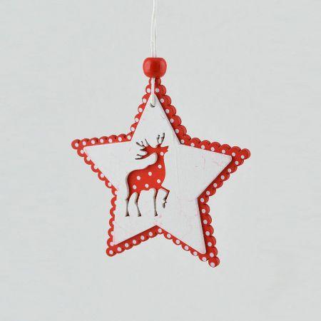 Ξύλινο κρεμαστό στολίδι αστέρι με κόκκινο τάρανδο 8,3cm