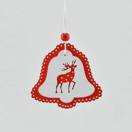 Ξύλινο κρεμαστό στολίδι καμπανάκι με κόκκινο τάρανδο 8,3cm