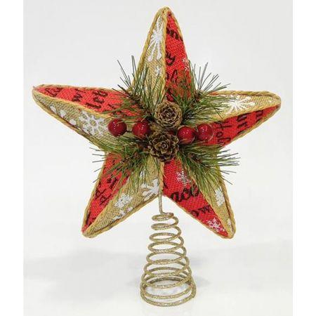 Κορυφή Χριστουγεννιάτικου δέντρου αστέρι λινάτσα 28cm