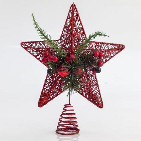 Κορυφή Χριστουγεννιάτικου δέντρου αστέρι συρμάτινο με glitter και berries Κόκκινο 30cm