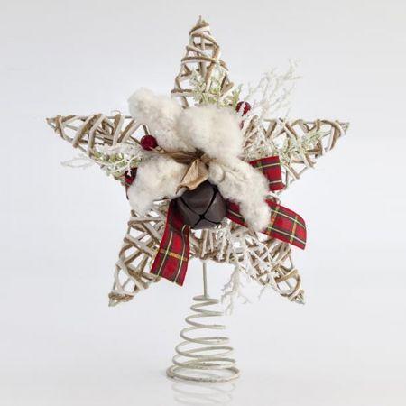 Κορυφή Χριστουγεννιάτικου δέντρου αστέρι rattan 30cm
