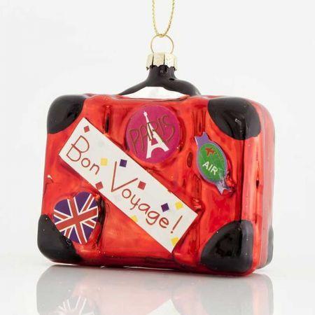 Κρεμαστό στολίδι βαλίτσα γυάλινο 7,4x3,3x8,5cm