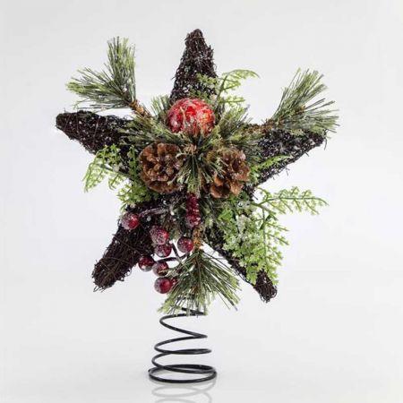 Κορυφή Χριστουγεννιάτικου δέντρου αστέρι rattan Καφέ 30cm