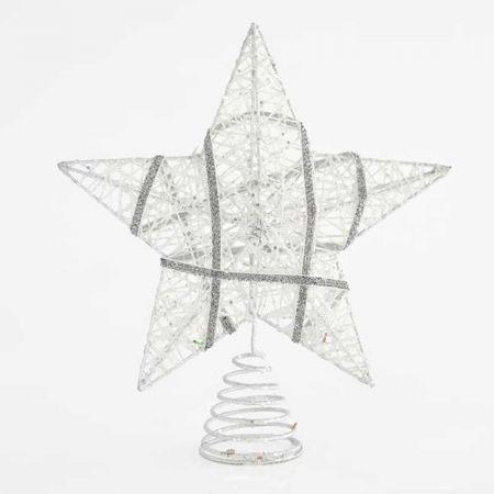 Κορυφή Χριστουγεννιάτικου δέντρου αστέρι Ασημί 25,4cm