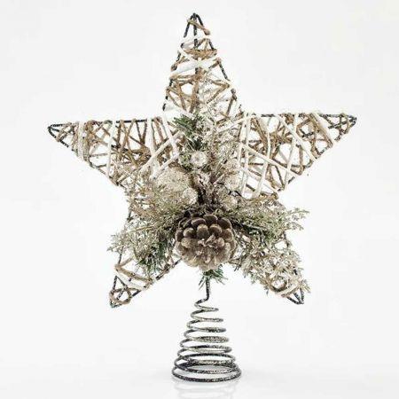 Κορυφή Χριστουγεννιάτικου δέντρου αστέρι rattan 30,5cm