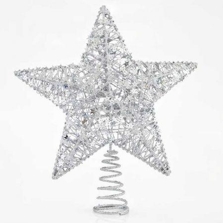 Κορυφή Χριστουγεννιάτικου δέντρου αστέρι Ασημί 30cm