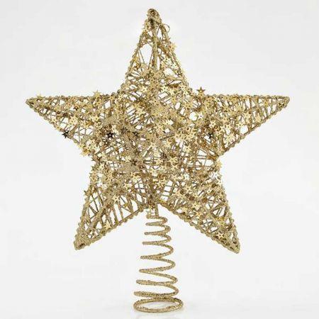 Κορυφή Χριστουγεννιάτικου δέντρου αστέρι Χρυσό 30cm