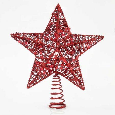 Κορυφή Χριστουγεννιάτικου δέντρου αστέρι Κόκκινο 30cm