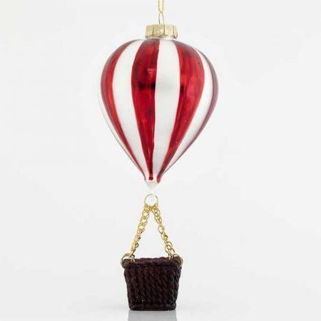 Κρεμαστό στολίδι αερόστατο γυάλινο 7x15,5cm