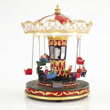 Χριστουγεννιάτικο Carousel με 10LED, ήχο και κίνηση 21,5x26cm