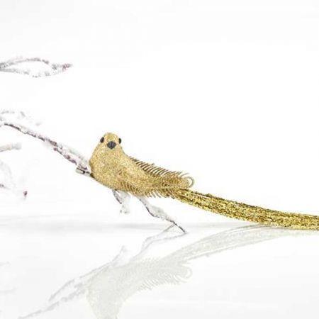 Διακοσμητικό πουλάκι με μακριά ουρά και κλιπ Χρυσό 3x4x36cm