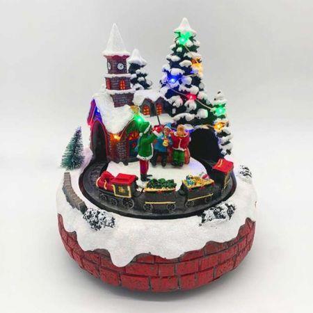 Χριστουγεννιάτικο τρενάκι με 12LED, μουσική και κίνηση 16x19cm