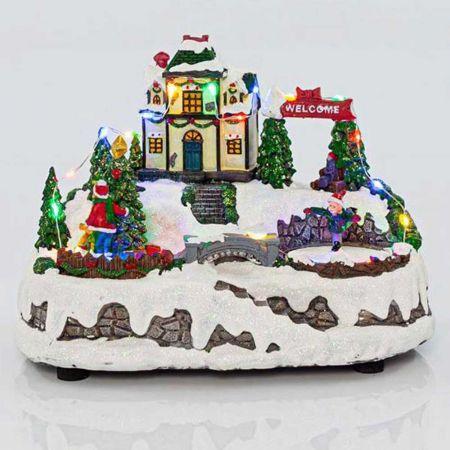 Χριστουγεννιάτικο χωριό με 24LED, μουσική και κίνηση 22x15,5x17,5cm