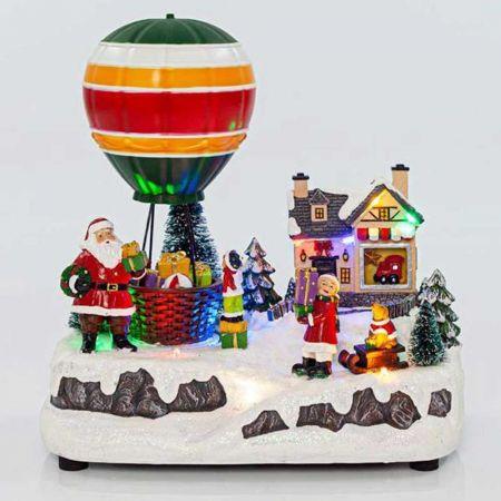 Χριστουγεννιάτικος Άγιος Βασίλης και αερόστατο με 9LED, μουσική και κίνηση 23x14x24cm