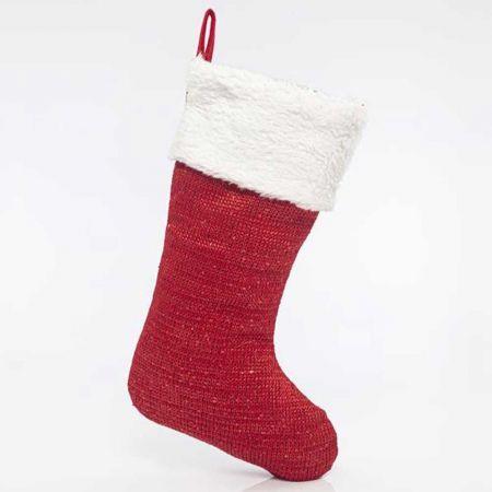Χριστουγεννιάτικη μπότα - κάλτσα με γουνάκι Κόκκινη - Λευκή 27x51cm