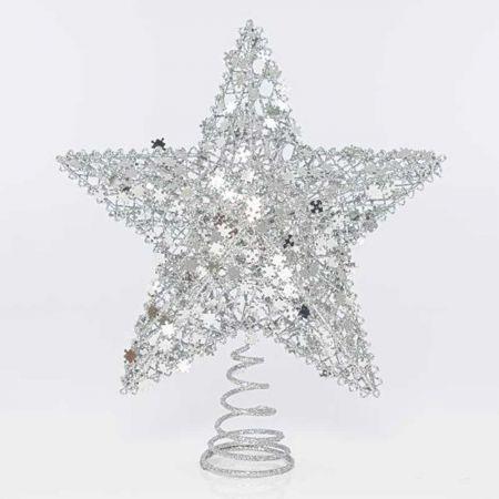 Κορυφή Χριστουγεννιάτικου δέντρου Αστέρι με παγιέτες - puzzle Ασημί 21x7x24,5cm
