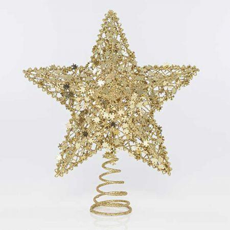 Κορυφή Χριστουγεννιάτικου δέντρου Αστέρι με παγιέτες - puzzle Χρυσή 21x7x24,5cm